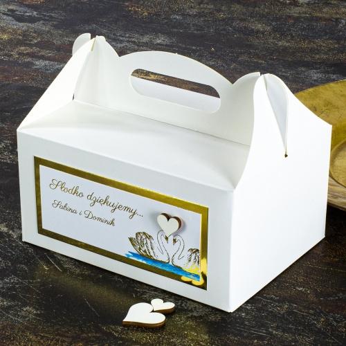 Duże pudełko na ciasto - Dostojne łabędzie