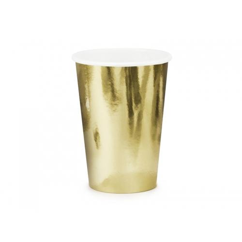 Kubeczki papierowe 220 ml, złote (6 sztuk)