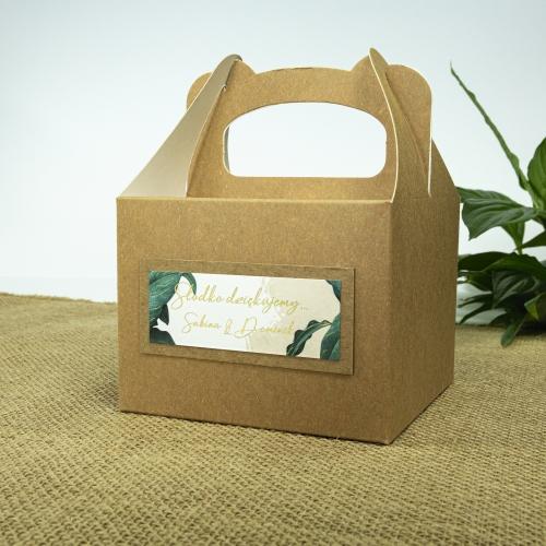 Małe pudełko na ciasto z papieru czerpanego - Tropical I