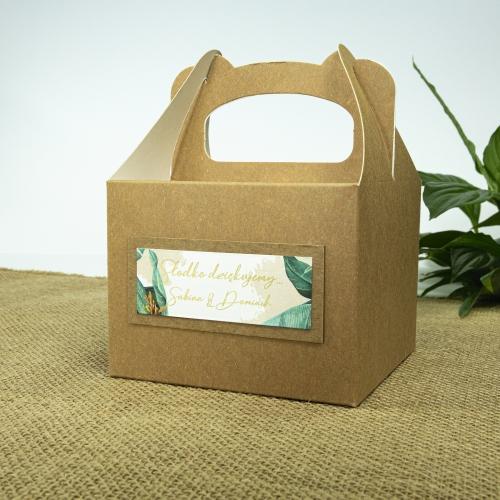 Małe pudełko na ciasto z papieru czerpanego - Tropical II