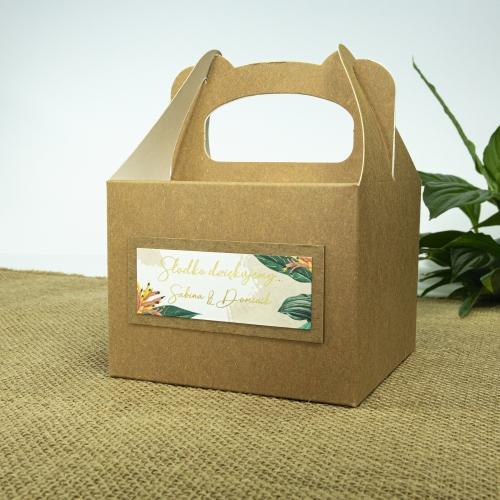Małe pudełko na ciasto z papieru czerpanego - Tropical III