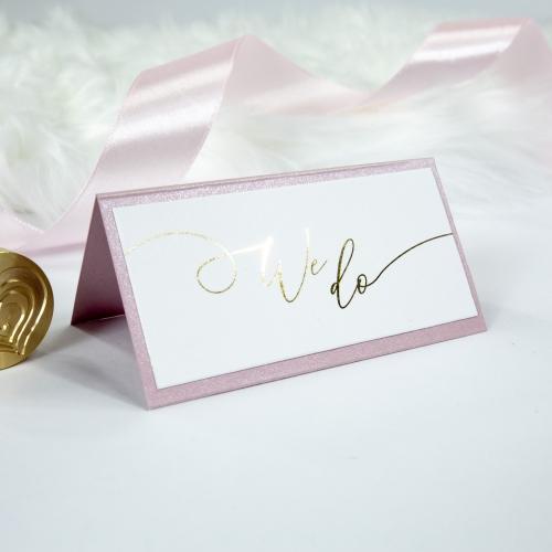 Winietki ślubne - We Do - Różowy - wyklejana