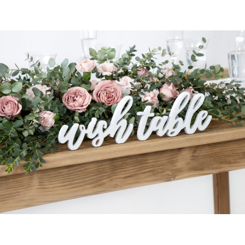 """Drewniany napis """"Wish table"""""""