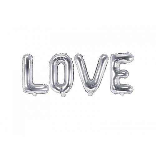 Balon Foliowy Love, srebrny