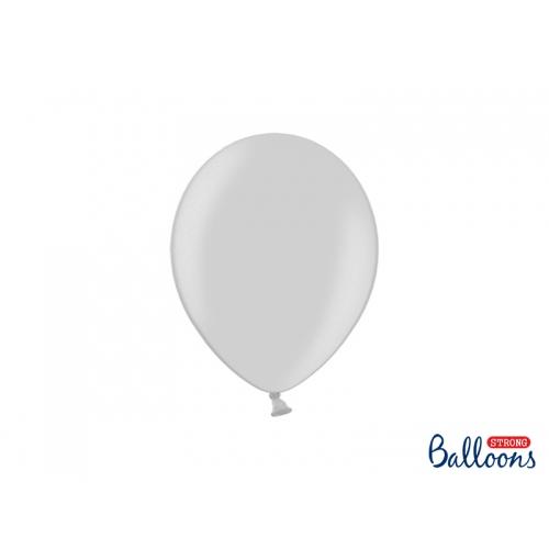 Srebrne, metaliczne balony (100 sztuk)