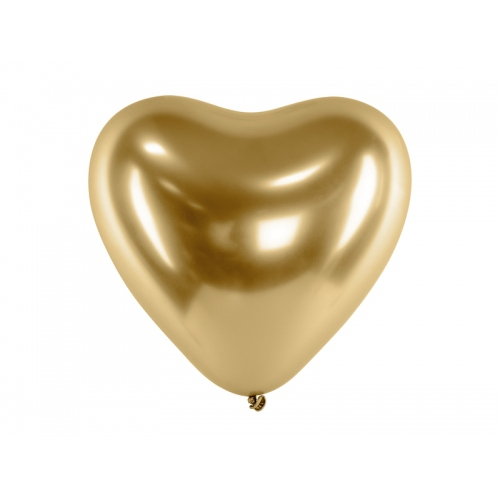 Złote, balony glossy - serce (50 sztuk)