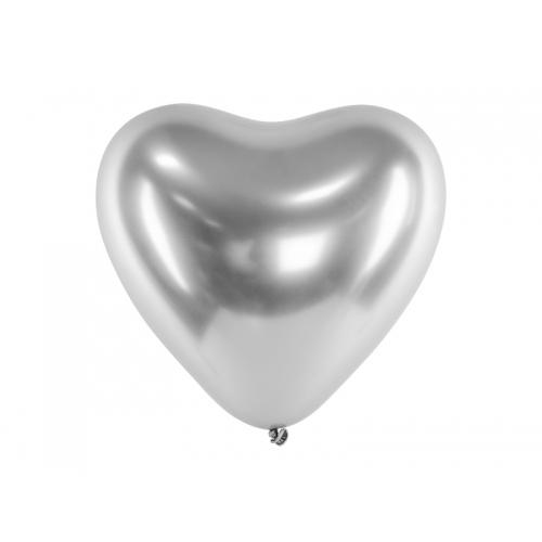 Srebrne, balony glossy - serce (50 sztuk)