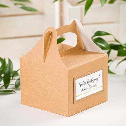 Małe pudełko na ciasto EKO - BohoMaz - białe