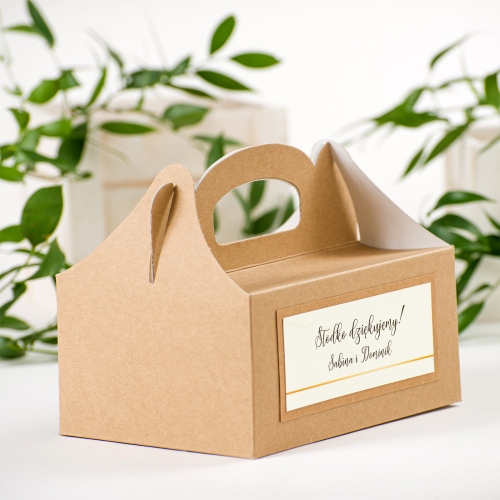 Duże pudełko na ciasto EKO - BohoMaz - kremowe