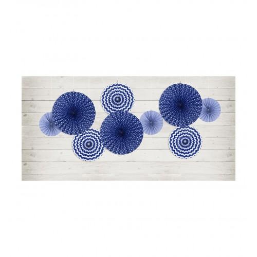 Granatowe rozety dekoracyjne (3 sztuki)