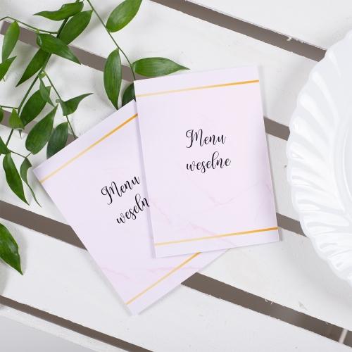 Menu weselne - BohoMaz - różowe