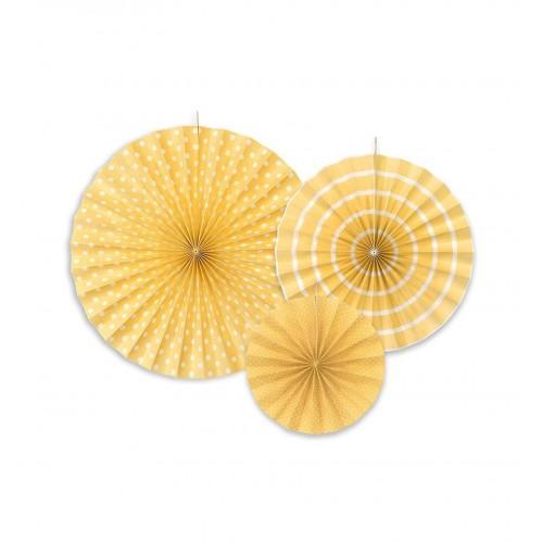 Żółte rozety dekoracyjne (3 sztuki)