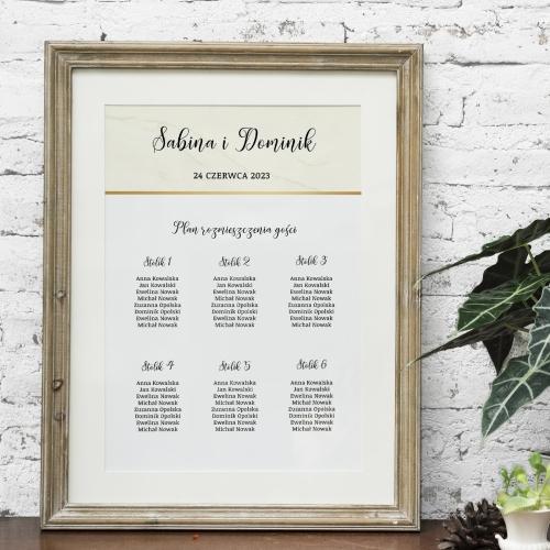 Plakat rozmieszczenia gości - BohoMaz - kremowy
