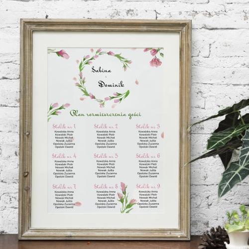 Plakat rozmieszczenia gości - Floral różowy