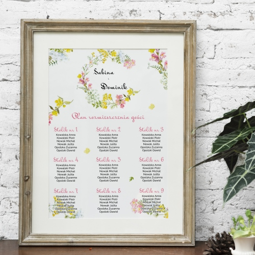 Plakat rozmieszczenia gości - Floral II