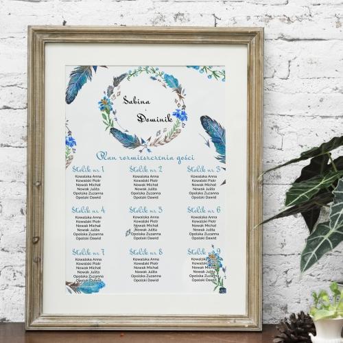Plakat rozmieszczenia gości - Floral IV