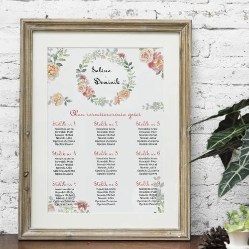 Plakat rozmieszczenia gości - Floral VI