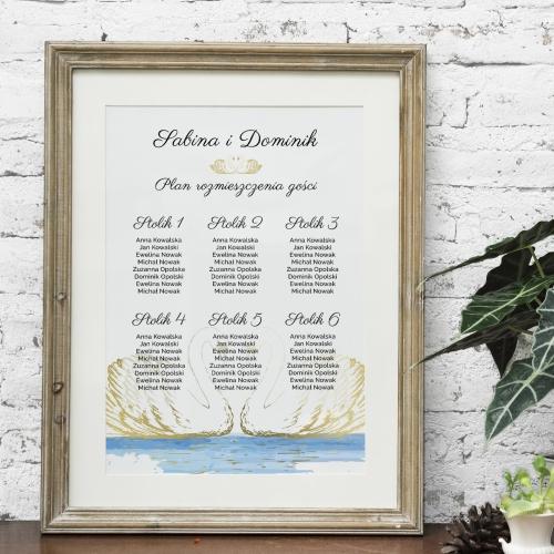 Plakat rozmieszczenia gości - Dostojne łabędzie
