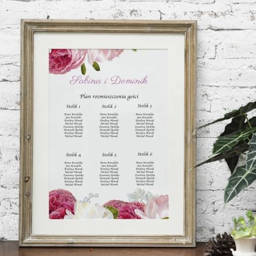 Plakat rozmieszczenia gości - Romantyczne piwonie