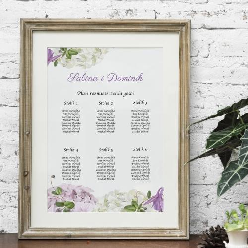Plakat rozmieszczenia gości - Fioletowe hortensje