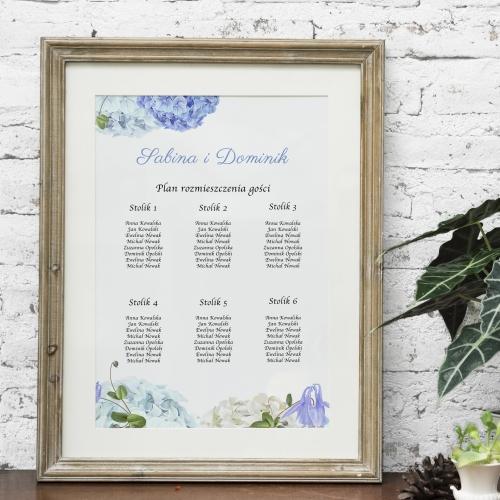 Plakat rozmieszczenia gości - Błękitne hortensje