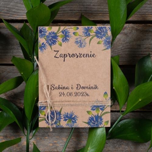 Zaproszenie ślubne - Rustic Blue - 3 karteczki