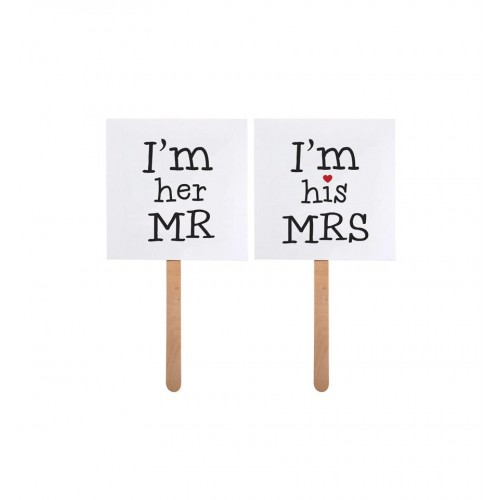 "Tabliczki na patyku ""I'm her MR"" i ""I'm his MRS"""