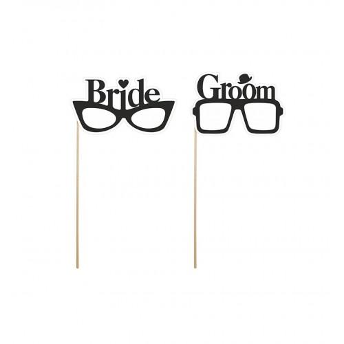 """Tabliczki na patyku """"Bride"""" i """"Groom"""""""