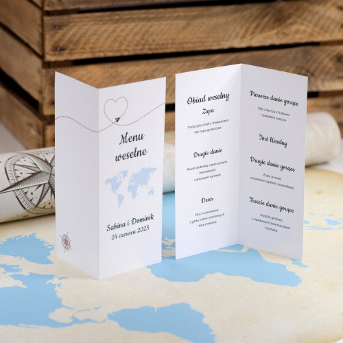Menu weselne - Our Journey - składane