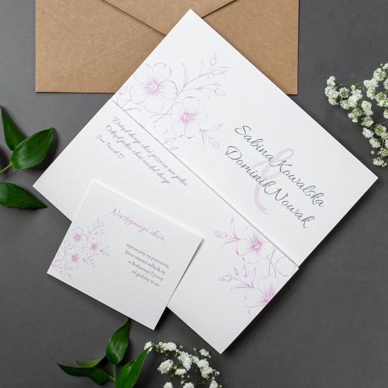 Zaproszenie ślubne - Gesso Flower - składane