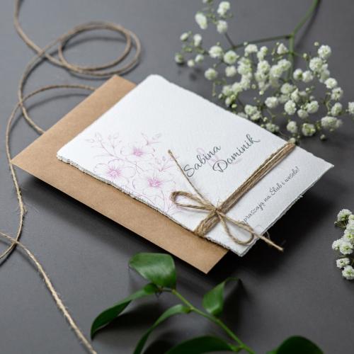 Zaproszenie ślubne - Gesso Flower - 3 karteczki