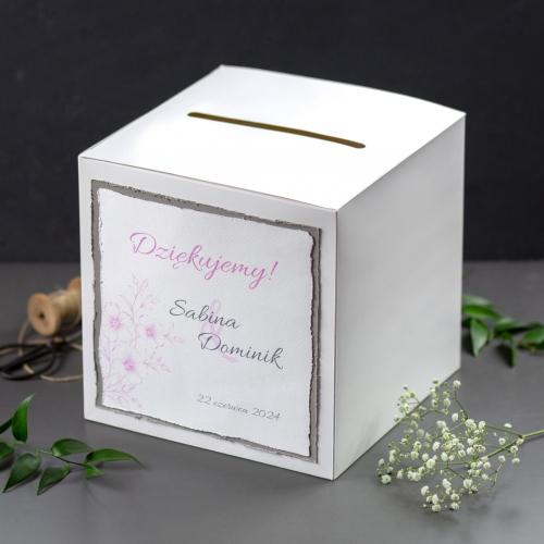 Pudełko na koperty - białe - Gesso Flower