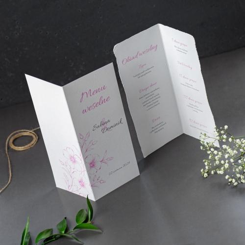 Menu weselne - Gesso Flower - składane