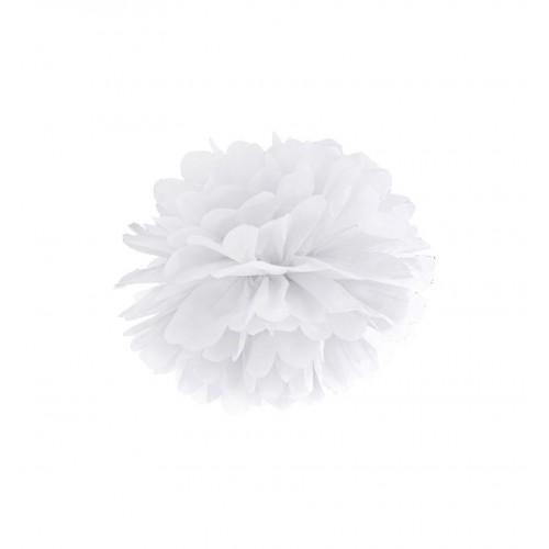 Biały pompon bibułowy