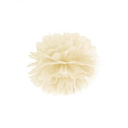 Kremowy pompon bibułowy
