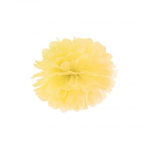 Żółty pompon bibułowy