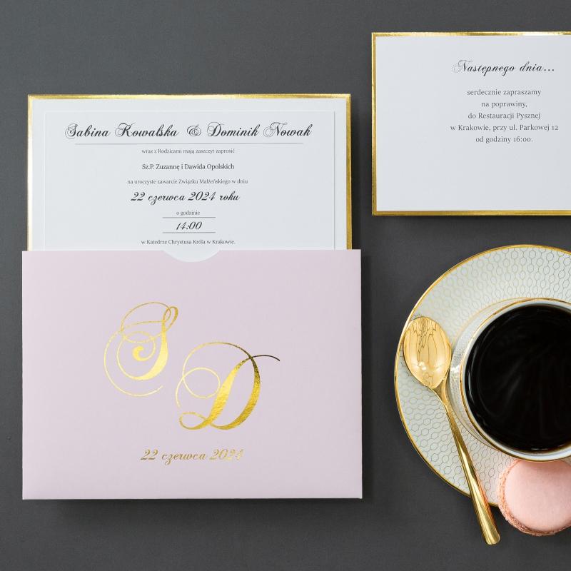 Zaproszenia ślubne - Gold Mirror - kieszonka