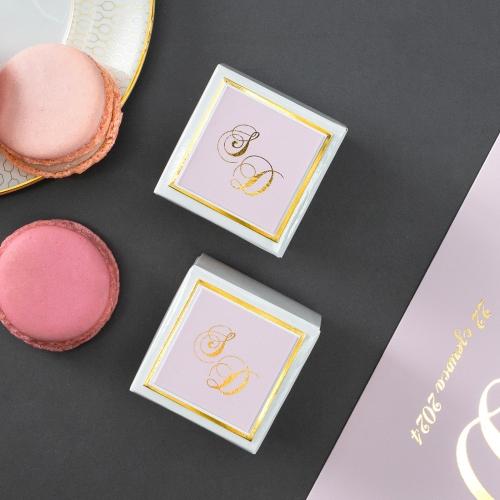 Białe pudełeczka dla gości z elegancką etykietą - Mirror Card (10 sztuk)