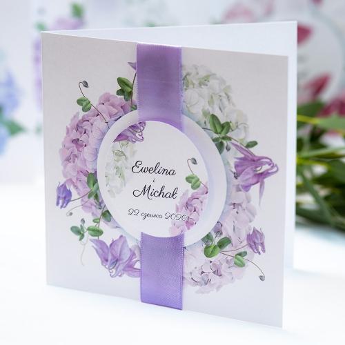 Zaproszenie ślubne - Fioletowe Hortensje