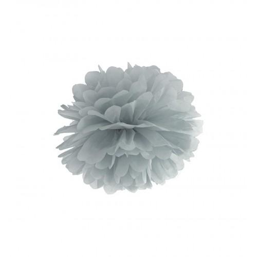 Szary pompon bibułowy